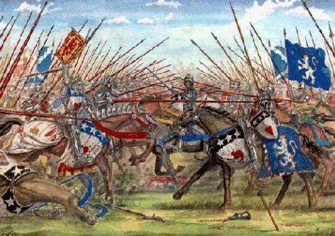 George, 4th Earl of Angus defeating the Black Douglases at the Battle of Arkinholm, 1455
